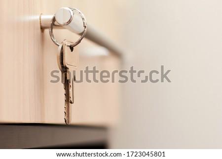 Key with keyring at lock against white background Stock photo © wavebreak_media