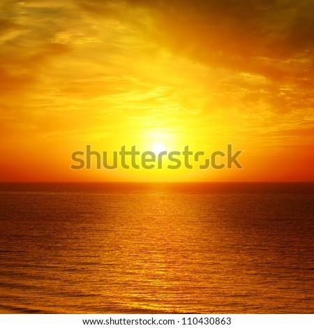 Golden Sunset In Orange Color In The Sea Ocean Stock photo © Serg64