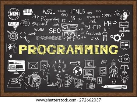 Hand gezeichnet Business Optimierung Tafel verschwommen Bildung Stock foto © tashatuvango