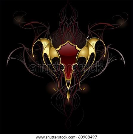 バナー 翼 描いた ゴシック スタイル ストックフォト © blackmoon979