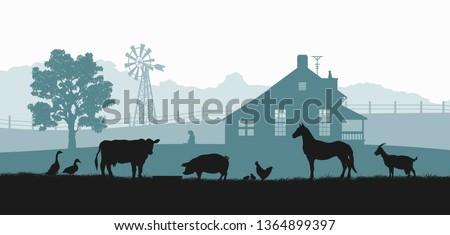 Sziluett jelenet farm illusztráció tájkép háttér Stock fotó © colematt