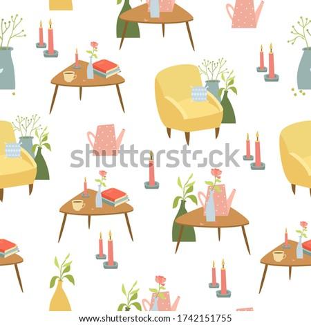 cozinha · mobiliário · conjunto · confortável · interior · da · cozinha · tabela - foto stock © robuart