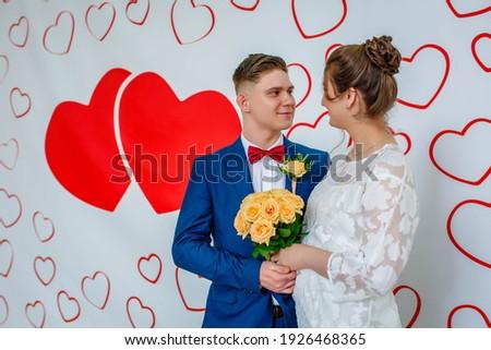 Just Married Couple in Photozone Taking Photo Stock photo © robuart