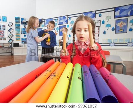 grupo · primário · música · lição · sala · de · aula - foto stock © monkey_business