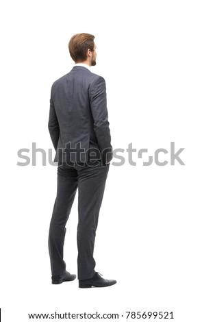 Vue arrière affaires costume permanent blanche shirt Photo stock © wavebreak_media