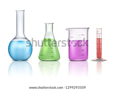 Different beakers filled with blue liquid Stock photo © colematt