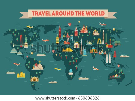 Poster illustrating the travel around the world. Stock photo © ConceptCafe