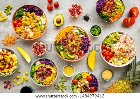 чаши овощей риса традиционный вегетарианский Салат Сток-фото © karandaev