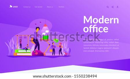 Munkaterület leszállás oldal üzletember dolgozik testmozgás Stock fotó © RAStudio