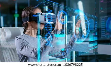Tanul projekt virtuális valóság mosolyog kíváncsi Stock fotó © pressmaster