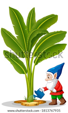 Goblin watering tree position in cartoon character on white back Stock photo © bluering