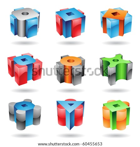Cubic and cylindrical metallic glossy shapes Stock photo © cidepix