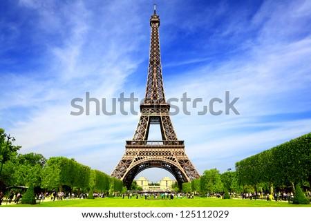 エッフェル塔 · 公園 · パリ · フランス · 黒白 · フランス語 - ストックフォト © sumners