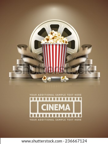 Cinema concept with popcorn and cinefilms retro style Stock photo © LoopAll