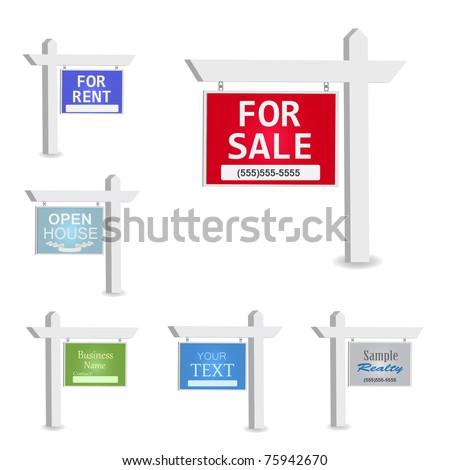 Vermelho venda poste de sinalização anúncio gradiente casa Foto stock © Oakozhan