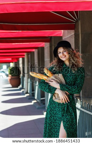 Stylish young woman at outdoors food place. Stock photo © lithian