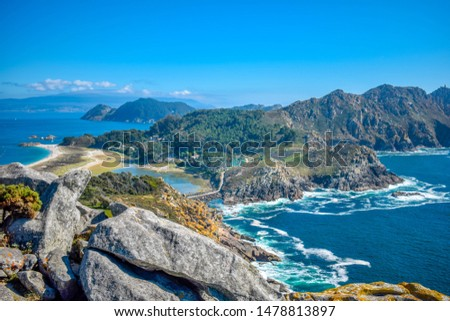 Islas Cies islands view from the sea of Vigo Spain Stock photo © lunamarina