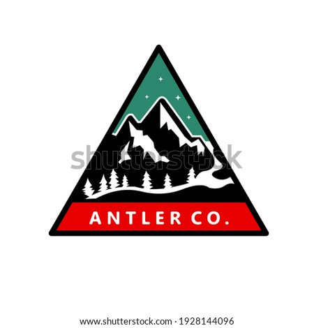 Camping faune badge montagne aventure emblème Photo stock © JeksonGraphics