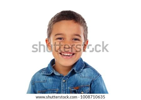 Cute gelukkig glimlachend kind geïsoleerd witte Stockfoto © bluering