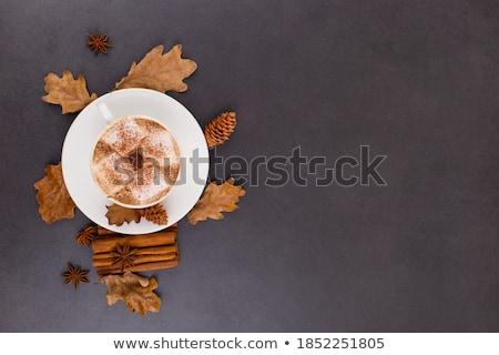 Autumn composition background with slices of dried oranges, leaves and cinnamon. Stock photo © Illia