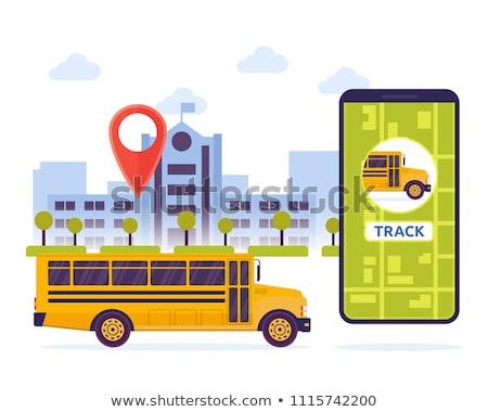 Schoolbus ouders naar plaats pin kaart Stockfoto © RAStudio