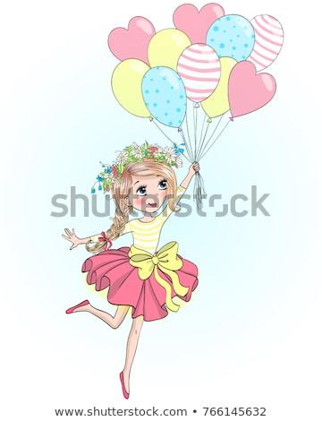 glimlachend · tienermeisje · Rood · hart · ballon - stockfoto © dolgachov