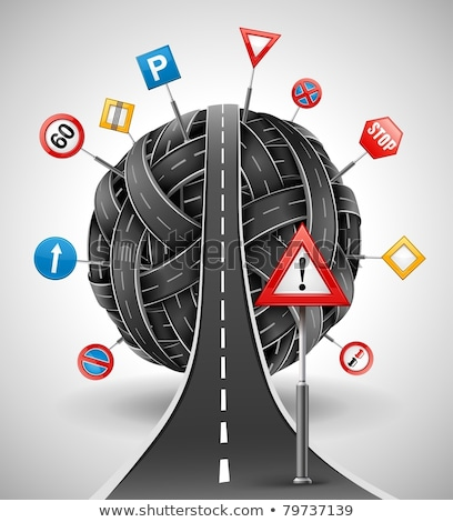 Stock photo: Tangle Of Roads With Signs