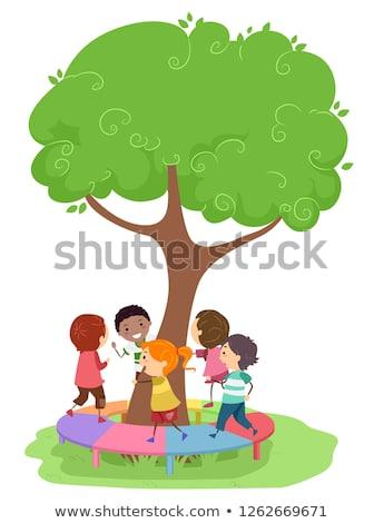 çocuklar oyun alanı ağaç köprü örnek yürüyüş Stok fotoğraf © lenm