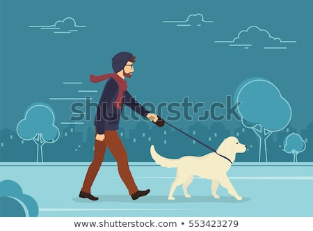 Pet Owner, Man with Dog on City Street Vector Stock photo © robuart