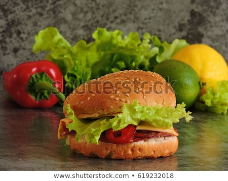 Stok fotoğraf: Iştah · açıcı · sandviç · tereyağı · beyaz · fincan · tabağı · peynir