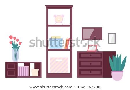 Fából készült fiók bútor lakberendezés váza könyv Stock fotó © robuart