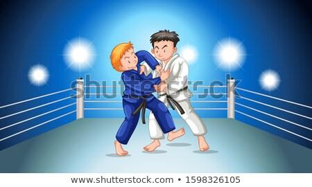 Scène mensen karate vechten stadion illustratie Stockfoto © bluering
