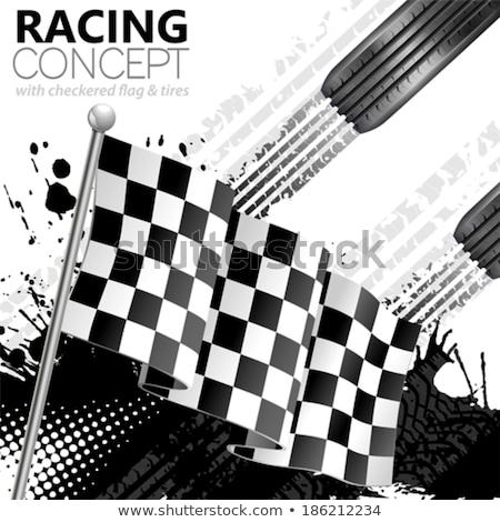 Yarış bayrak lastik izlemek baskı bisiklet Stok fotoğraf © SArts