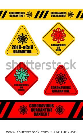 Coronavirus Quarantine Tape and sticker set. Virus 2019-nCoV on  Stock photo © popaukropa