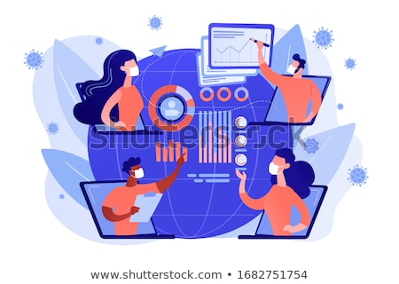 Online medical conference, virus spread analysis concept vector Stock photo © RAStudio
