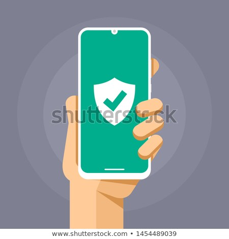 Smartphone mockup with protection shield on the blank screen. Secure antivirus device. Vector colorf Stock photo © karetniy