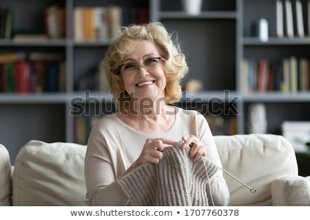 Woman Knitting at Home, Lady with Needles Hobby Stock photo © robuart