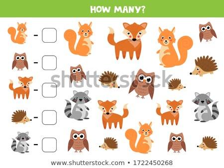 maths addition educational task with wild animals Stock photo © izakowski