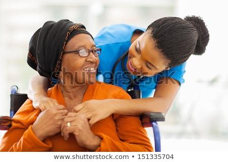 Glücklich african Frau Stethoskop Krankenhaus Arzt Stock foto © AndreyPopov