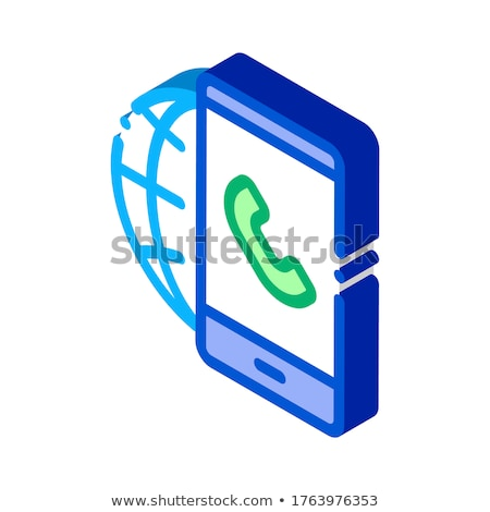 Voip smartphone internet verbinding isometrische icon Stockfoto © pikepicture