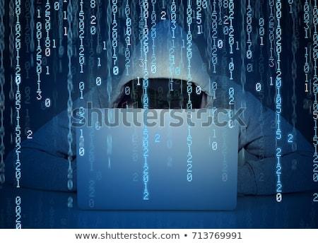 Faceless hacker on code background Stock photo © ra2studio