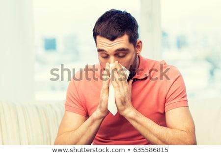 homme · froid · moucher · grippe · printemps · visage - photo stock © dacasdo