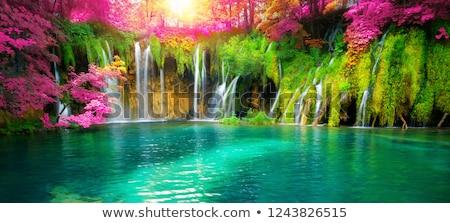 Vízesés víz tájkép zöld hegyek kő Stock fotó © CaptureLight