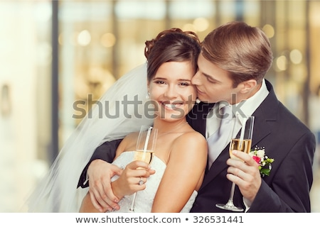 Stock photo: couple toasting at wedding