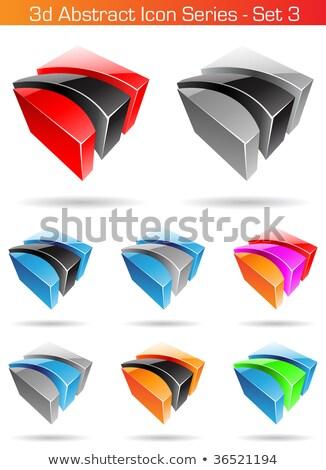 3D · absztrakt · ikon · szett · vektor · eps - stock fotó © cidepix