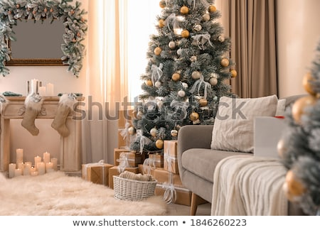 Photo stock: Noël · maison · arbre · de · noël · arbre · enfants · nuit