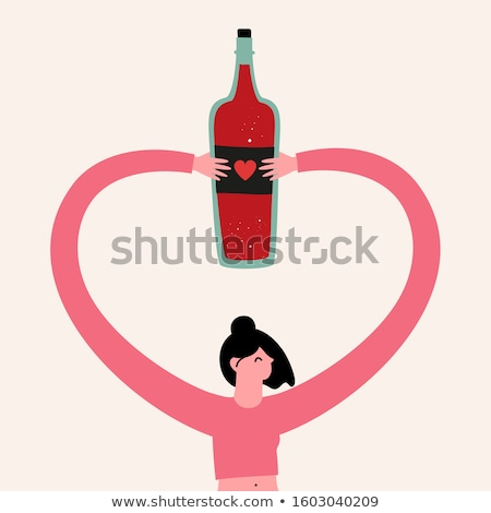 Cute Woman in pink wine Glass - isolated on white