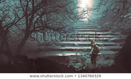 gizemli · merdiven · eski · aşağı · yeraltı · tünel - stok fotoğraf © borna_mir
