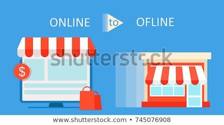 Stockfoto: Nline · versus · fysieke · winkels