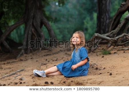 Foto stock: Nina · azul · vestido · aislado · blanco · mujeres
